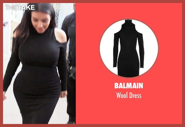 Balmain black dress from Keeping Up With The Kardashians seen with Kim Kardashian West
