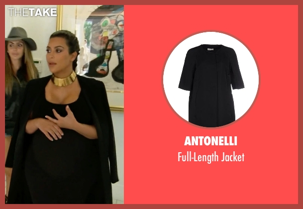 Antonelli black jacket from Keeping Up With The Kardashians seen with Kim Kardashian West