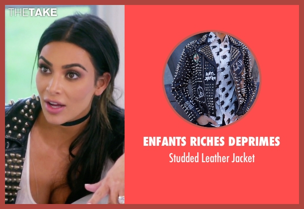 Enfants Riches Deprimes black jacket from Keeping Up With The Kardashians seen with Kim Kardashian West
