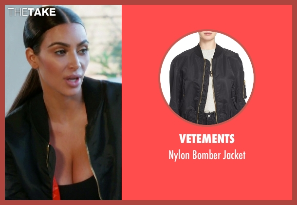 Vetements black jacket from Keeping Up With The Kardashians seen with Kim Kardashian West