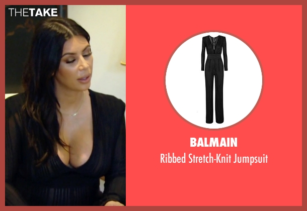 Balmain black jumpsuit from Keeping Up With The Kardashians seen with Kim Kardashian West