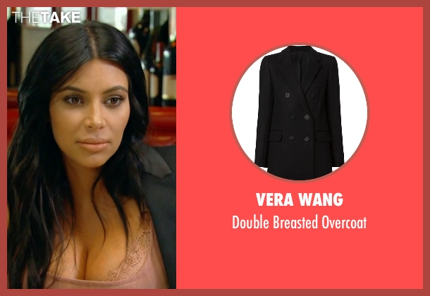 Vera Wang black overcoat from Keeping Up With The Kardashians seen with Kim Kardashian West