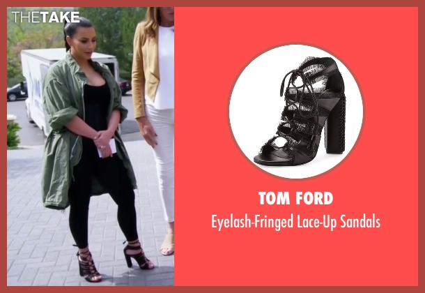 Tom Ford black sandals from Keeping Up With The Kardashians seen with Kim Kardashian West
