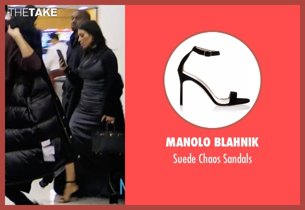 Manolo Blahnik black sandals from Keeping Up With The Kardashians seen with Kim Kardashian West