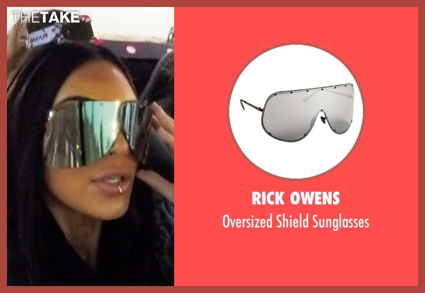 Rick Owens black sunglasses from Keeping Up With The Kardashians seen with Kim Kardashian West
