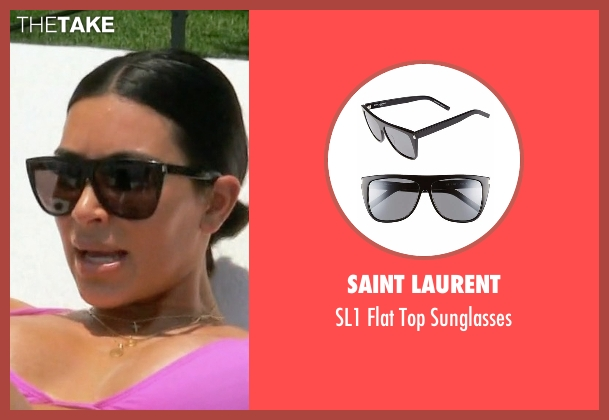 Saint Laurent black sunglasses from Keeping Up With The Kardashians seen with Kim Kardashian West