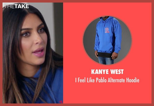 Kanye West blue hoodie from Keeping Up With The Kardashians seen with Kim Kardashian West