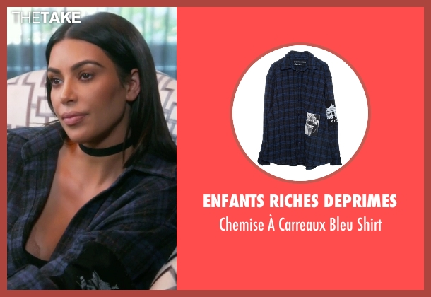 Enfants Riches Deprimes blue shirt from Keeping Up With The Kardashians seen with Kim Kardashian West