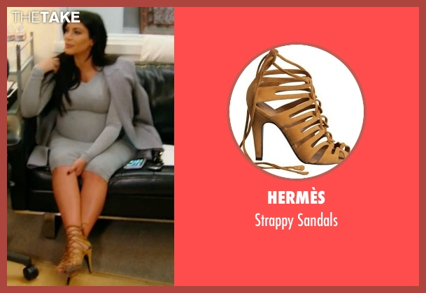 Hermès brown sandals from Keeping Up With The Kardashians seen with Kim Kardashian West