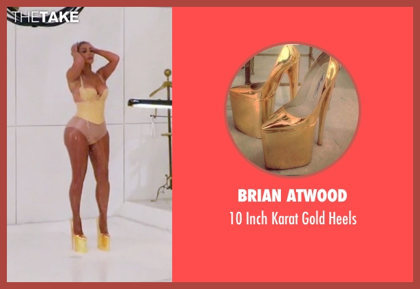 Brian Atwood gold heels from Keeping Up With The Kardashians seen with Kim Kardashian West