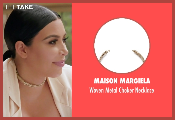 Maison Margiela gold necklace from Keeping Up With The Kardashians seen with Kim Kardashian West