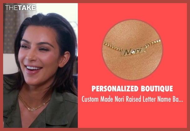 Personalized Boutique gold necklace from Keeping Up With The Kardashians seen with Kim Kardashian West