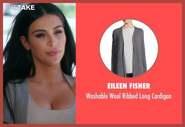 Eileen Fisher gray cardigan from Keeping Up With The Kardashians seen with Kim Kardashian West