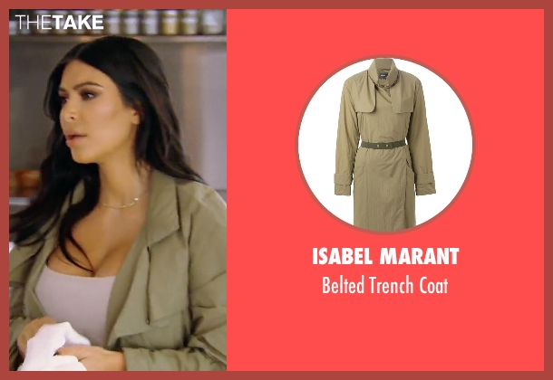 Isabel Marant green coat from Keeping Up With The Kardashians seen with Kim Kardashian West