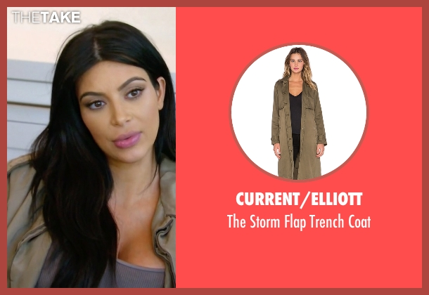 Current/Elliott green coat from Keeping Up With The Kardashians seen with Kim Kardashian West