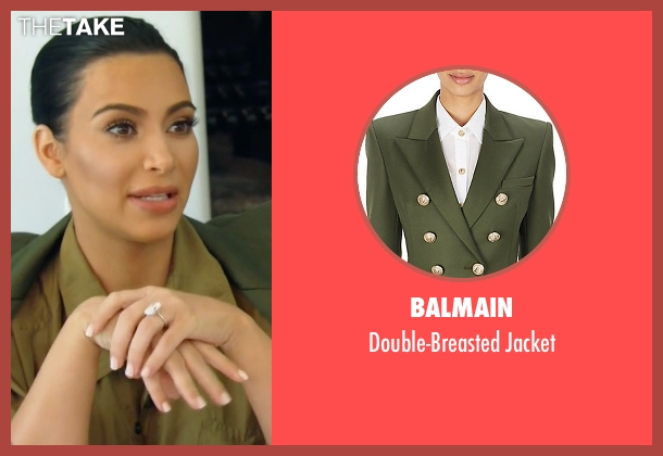 Balmain green jacket from Keeping Up With The Kardashians seen with Kim Kardashian West