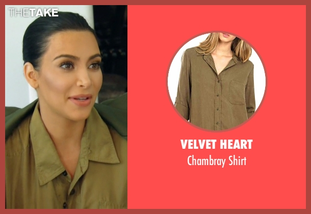 Velvet Heart green shirt from Keeping Up With The Kardashians seen with Kim Kardashian West