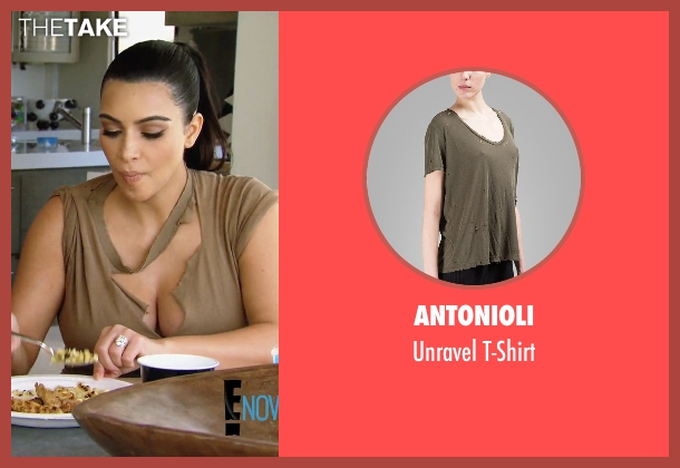 Antonioli green t-shirt from Keeping Up With The Kardashians seen with Kim Kardashian West