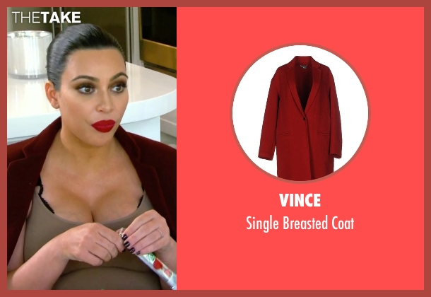 Vince red coat from Keeping Up With The Kardashians seen with Kim Kardashian West