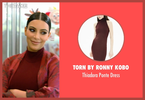 Torn By Ronny Kobo red dress from Keeping Up With The Kardashians seen with Kim Kardashian West