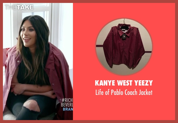 Kanye West Yeezy red jacket from Keeping Up With The Kardashians seen with Kim Kardashian West