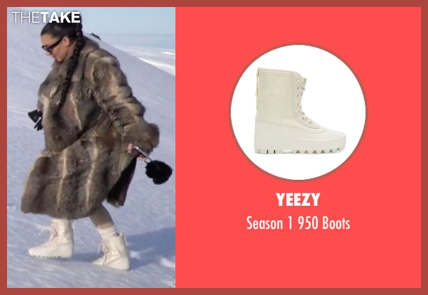 Yeezy white boots from Keeping Up With The Kardashians seen with Kim Kardashian West