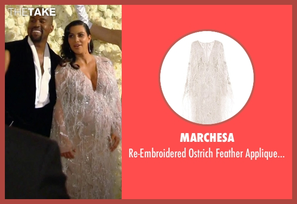 Marchesa white gown from Keeping Up With The Kardashians seen with Kim Kardashian West