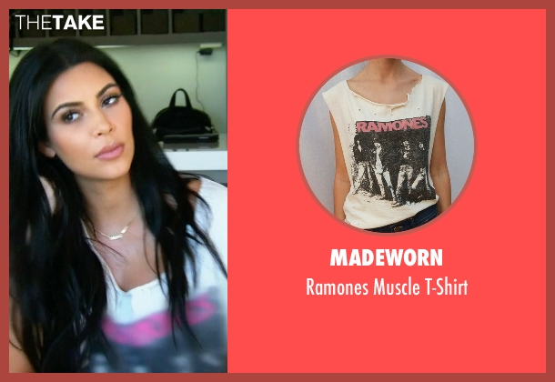Madeworn white t-shirt from Keeping Up With The Kardashians seen with Kim Kardashian West