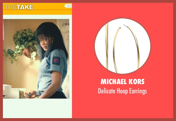 Michael Kors gold earrings from Dope seen with Kimberly Elise (Lisa Hayes)