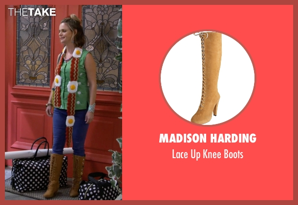 Madison Harding beige boots from Fuller House seen with Kimmy Gibbler (Andrea Barber)