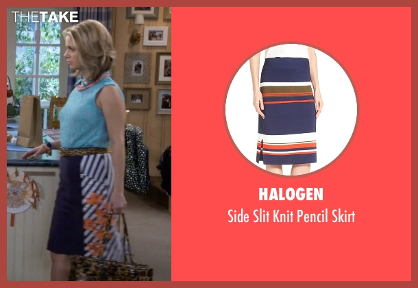 Halogen blue skirt from Fuller House seen with Kimmy Gibbler (Andrea Barber)