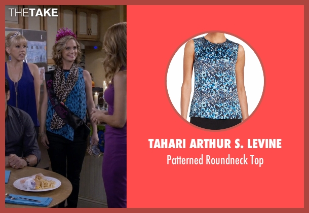 Tahari Arthur S. Levine blue top from Fuller House seen with Kimmy Gibbler (Andrea Barber)