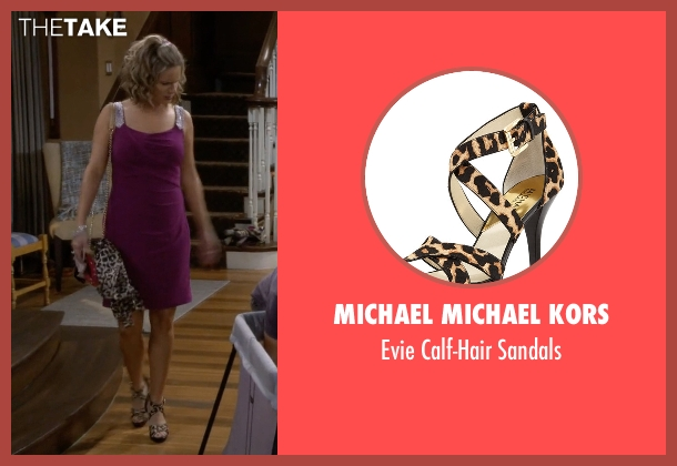 Michael Michael Kors brown sandals from Fuller House seen with Kimmy Gibbler (Andrea Barber)