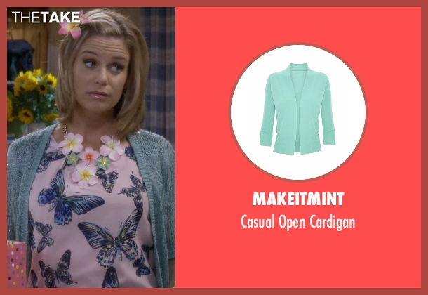 Makeitmint green cardigan from Fuller House seen with Kimmy Gibbler (Andrea Barber)