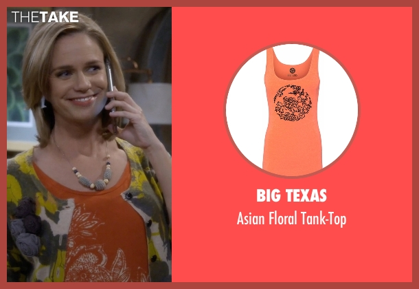 Big Texas orange tank-top from Fuller House seen with Kimmy Gibbler (Andrea Barber)