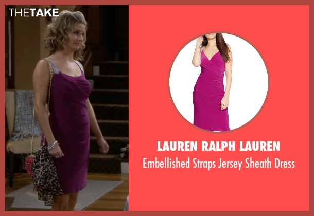 Lauren Ralph Lauren purple dress from Fuller House seen with Kimmy Gibbler (Andrea Barber)
