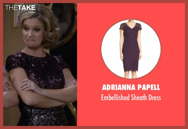 Adrianna Papell purple dress from Fuller House seen with Kimmy Gibbler (Andrea Barber)