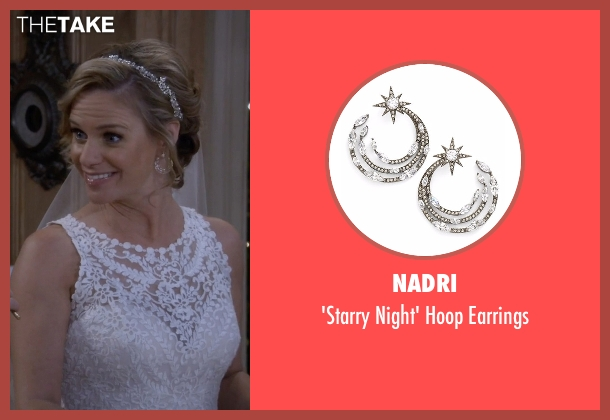 Nadri white earrings from Fuller House seen with Kimmy Gibbler (Andrea Barber)