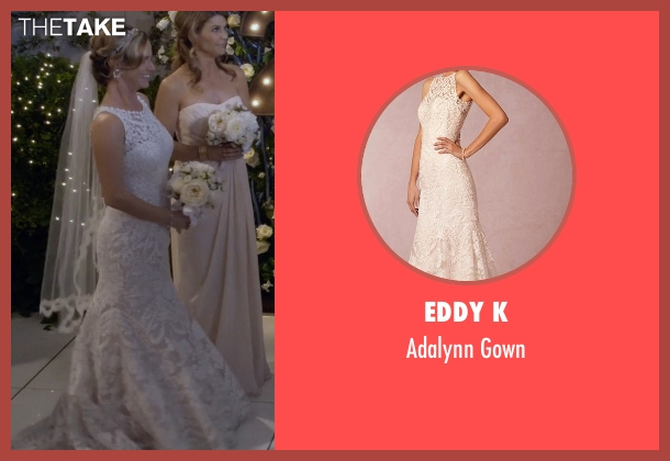 Eddy K white gown from Fuller House seen with Kimmy Gibbler (Andrea Barber)