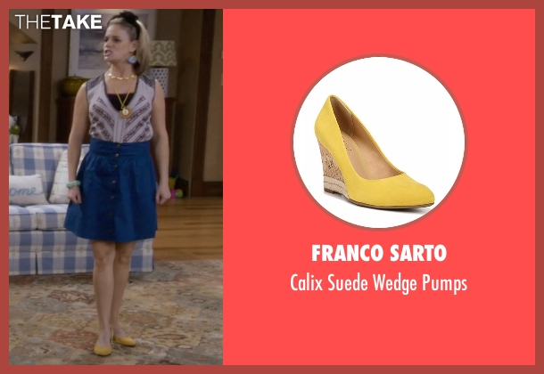 Franco Sarto yellow pumps from Fuller House seen with Kimmy Gibbler (Andrea Barber)