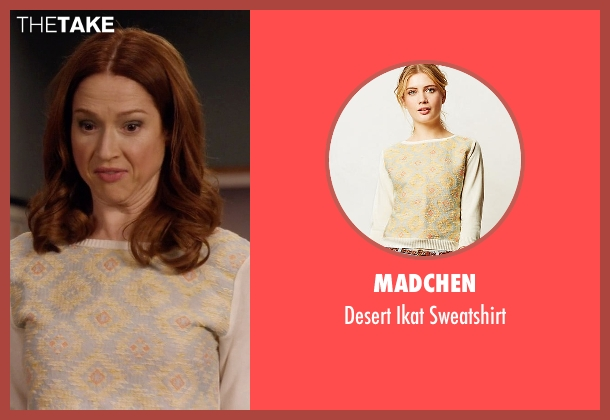 Madchen beige sweatshirt from Unbreakable Kimmy Schmidt seen with Kimmy Schmidt (Ellie Kemper)