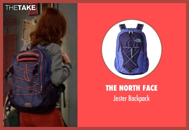 The North Face blue backpack from Unbreakable Kimmy Schmidt seen with Kimmy Schmidt (Ellie Kemper)