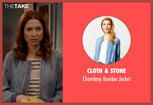 Cloth & Stone blue jacket from Unbreakable Kimmy Schmidt seen with Kimmy Schmidt (Ellie Kemper)