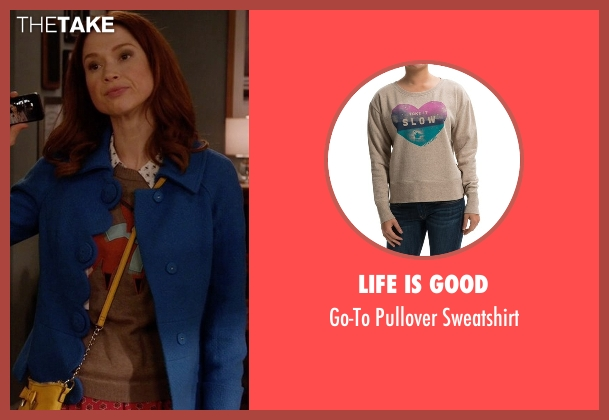 Life Is Good brown sweatshirt from Unbreakable Kimmy Schmidt seen with Kimmy Schmidt (Ellie Kemper)