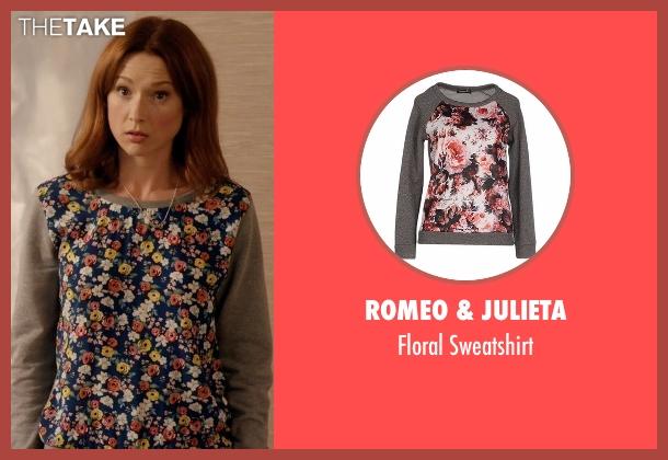 Romeo & Julieta gray sweatshirt from Unbreakable Kimmy Schmidt seen with Kimmy Schmidt (Ellie Kemper)