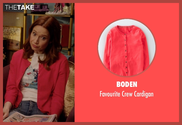 Boden orange cardigan from Unbreakable Kimmy Schmidt seen with Kimmy Schmidt (Ellie Kemper)