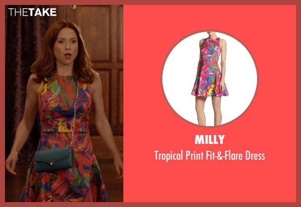 Milly orange dress from Unbreakable Kimmy Schmidt seen with Kimmy Schmidt (Ellie Kemper)