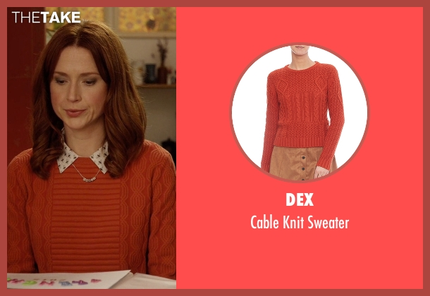 Dex orange sweater from Unbreakable Kimmy Schmidt seen with Kimmy Schmidt (Ellie Kemper)