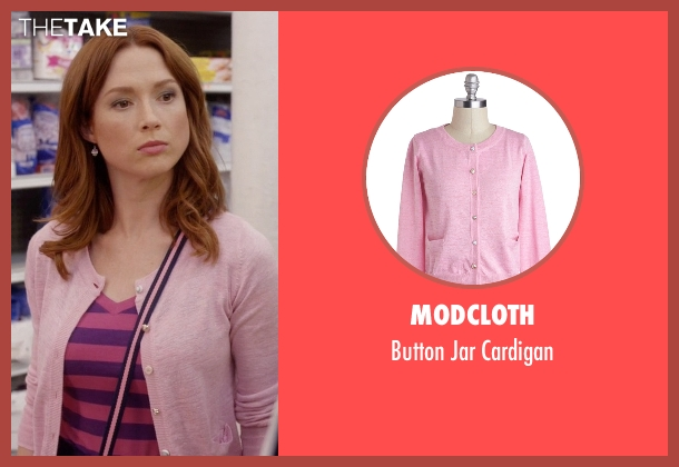 Modcloth pink cardigan from Unbreakable Kimmy Schmidt seen with Kimmy Schmidt (Ellie Kemper)