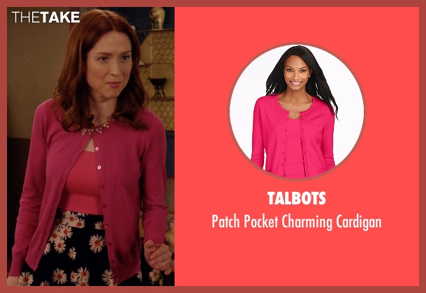 Talbots pink cardigan from Unbreakable Kimmy Schmidt seen with Kimmy Schmidt (Ellie Kemper)